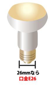 電球の口金E26の場合はソケットに入る部分の幅は26mmです